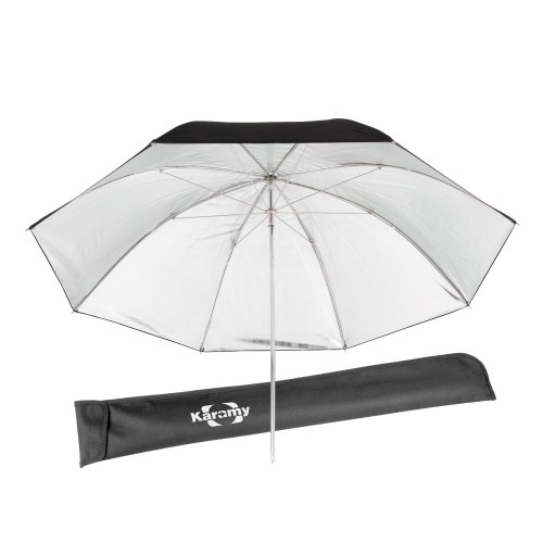 "Karamy KUB-BS46 46"" Flash Light Diffuser Soft Umbrella White+Silver"